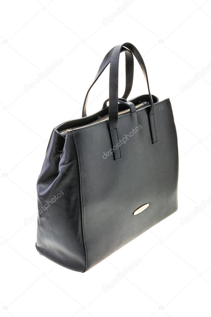 76309b473661a Schwarze Damen Tasche isoliert auf weißem Hintergrund — Stockfoto ...