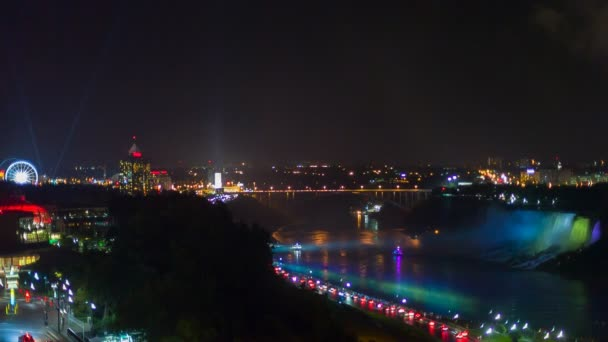 Niagara Falls view from hotel at night.