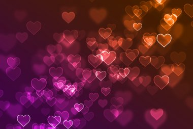 Blurred hearts signs background