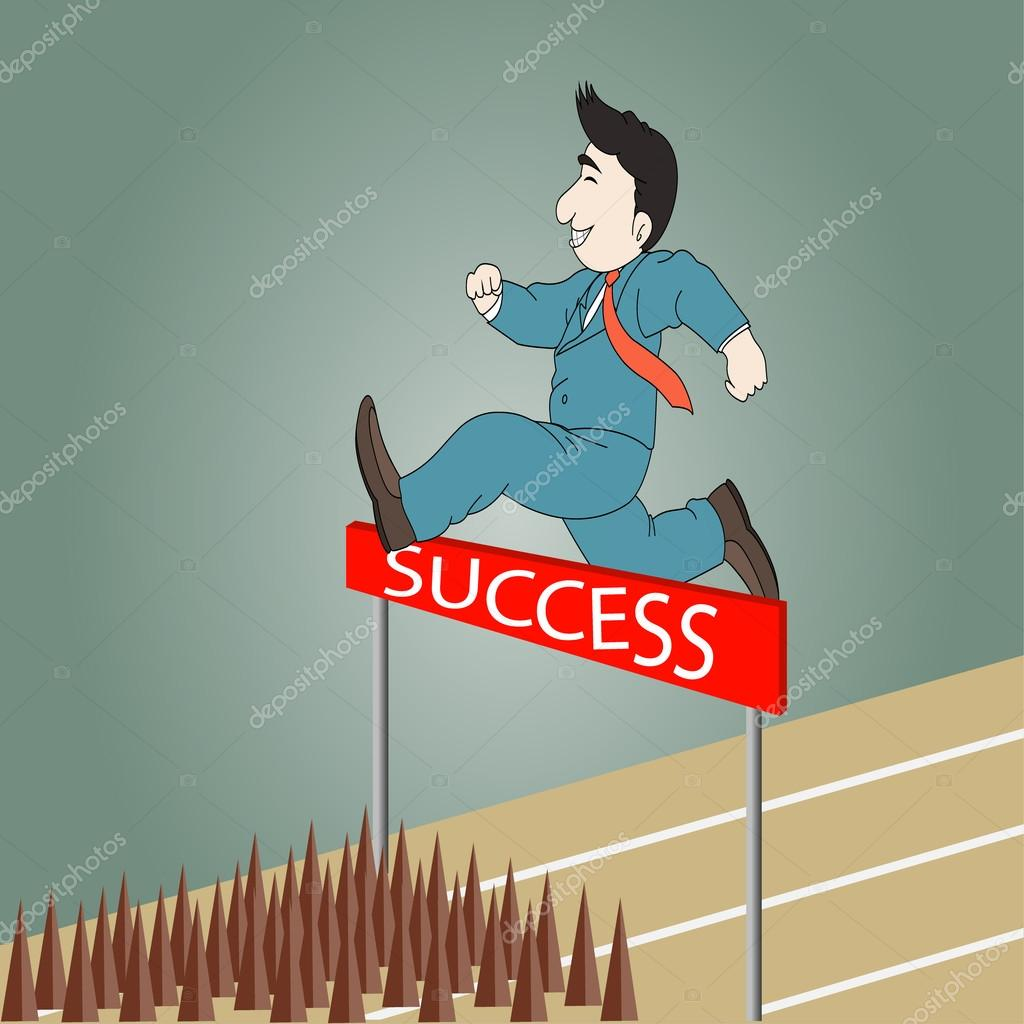 Businessman Jumping Over Hurdle On A Running Track The Way To Success Vector By Stoonn