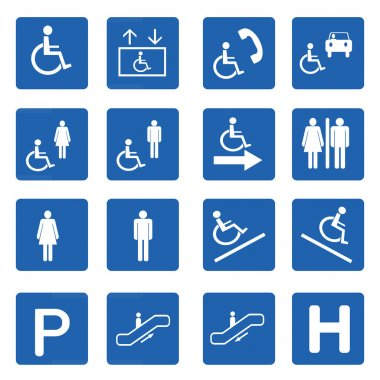 Blue square handicap signs vector set