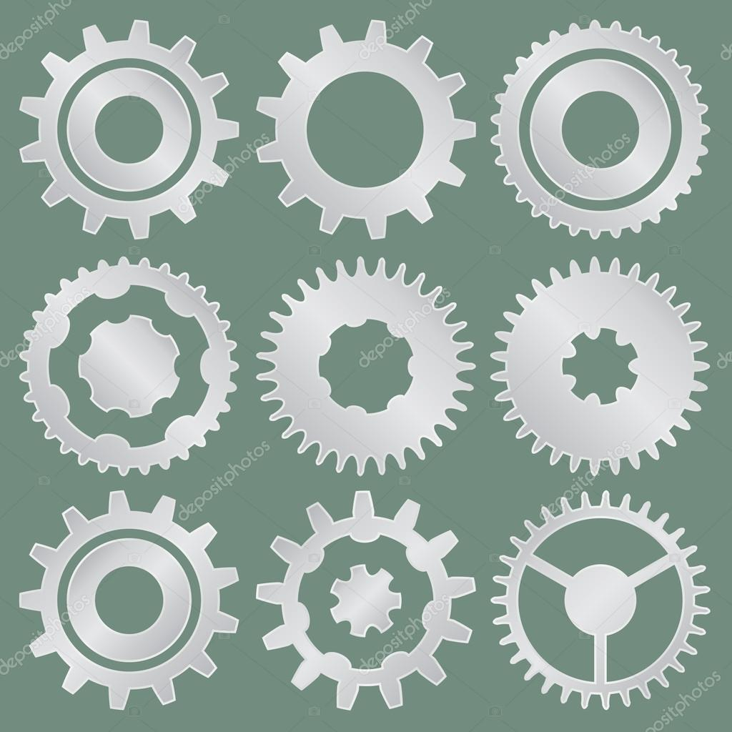 Vector collection of aluminum gear wheels