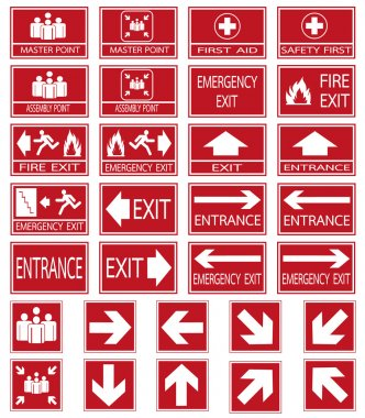 Vector emergency exit signs set on red background