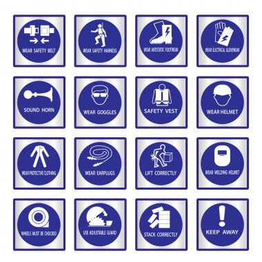Metal mandatory signs used in industrial applications