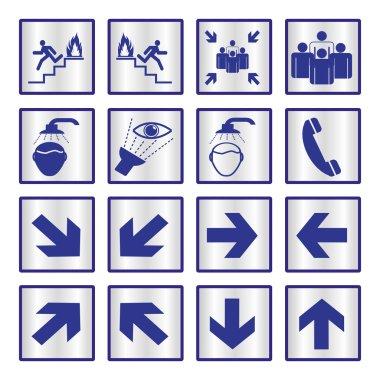Metalic safety sign set