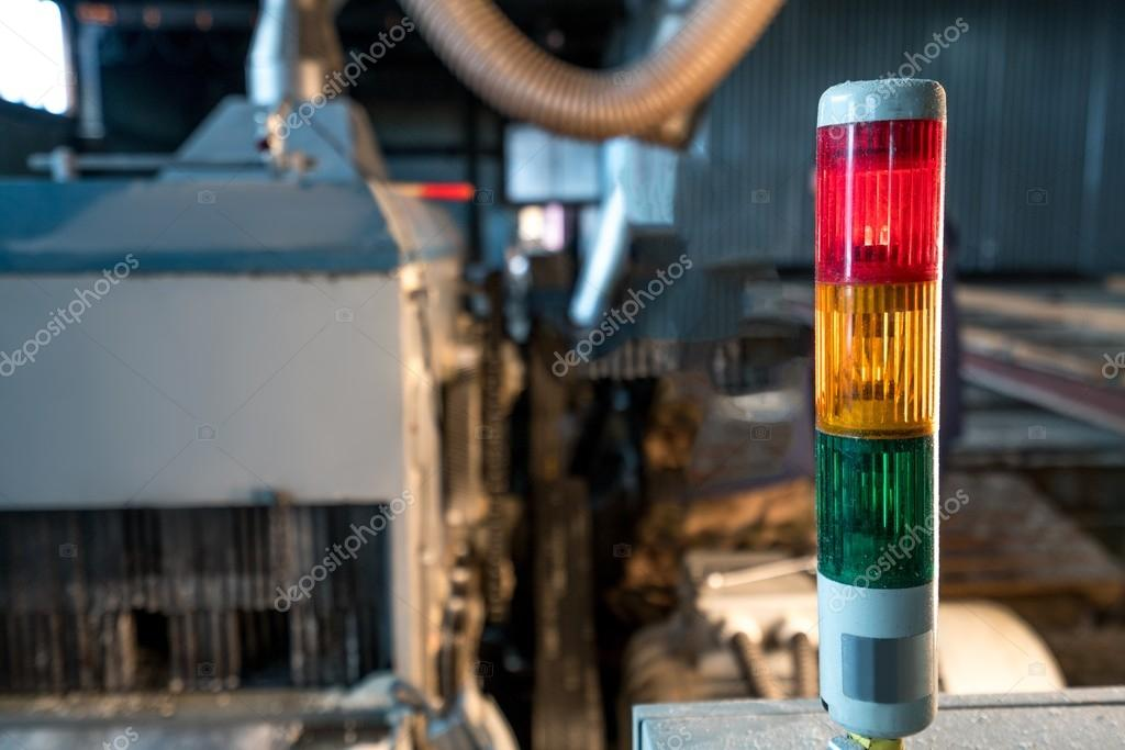 Image of tri-color LED on machine at sawmill