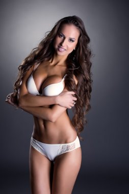 Image of beautiful long-haired model in underwear