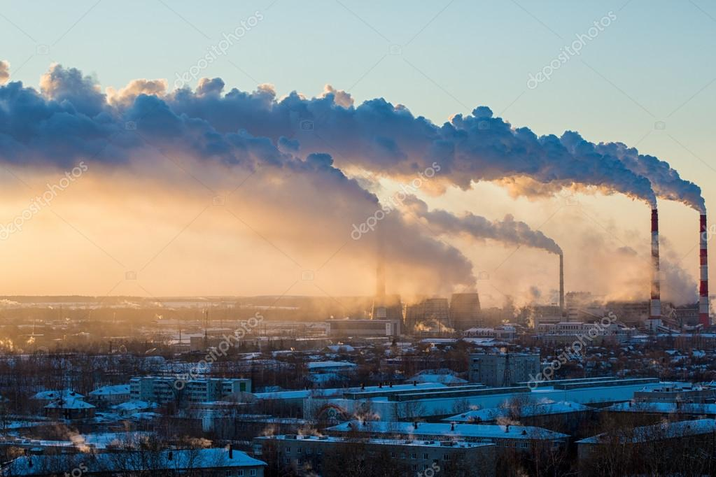 Smoke from thermal power plants rises above city