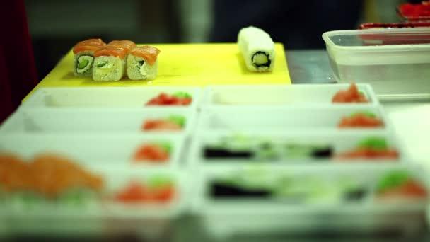 caff cucina giapponese cucina sushi e panini video stock 72001021