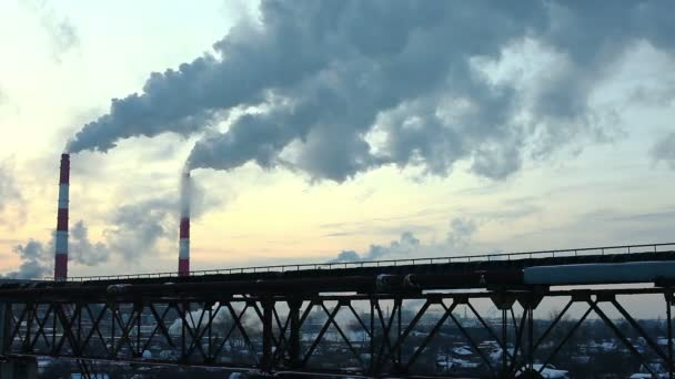 průmyslové zimní pohled na západ slunce časová prodleva