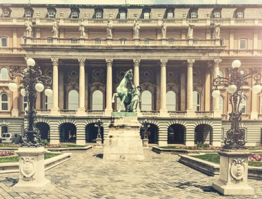 Buda castle courtyard with statue