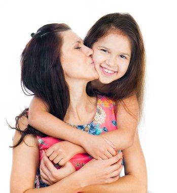 Cute little girl hugging her mother. Happy family. stock vector
