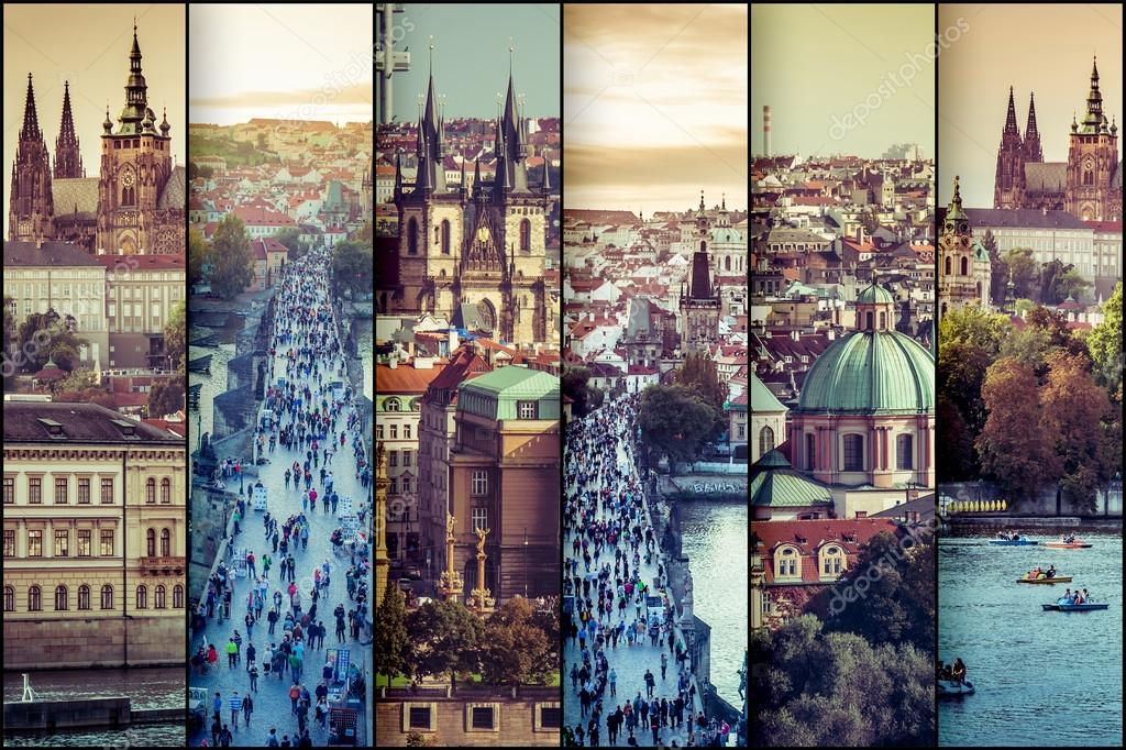 Фотообои collage photo view of the old town in Prague