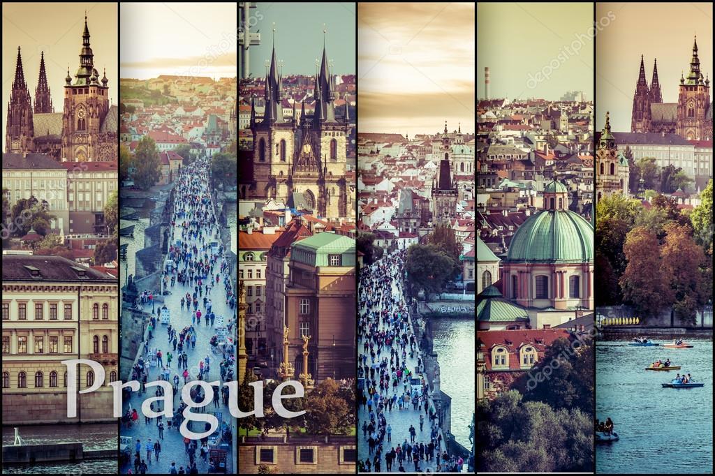 Фотообои коллаж красивый вид на Старый город в Праге