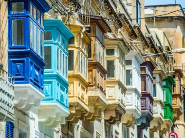 traditional colorful balconies