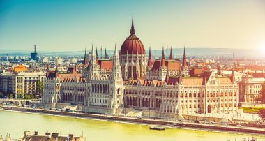 Hungarian Parliament view from fishermen Bastion