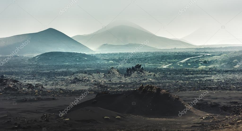 beautiful mountain landscape with volcanoes