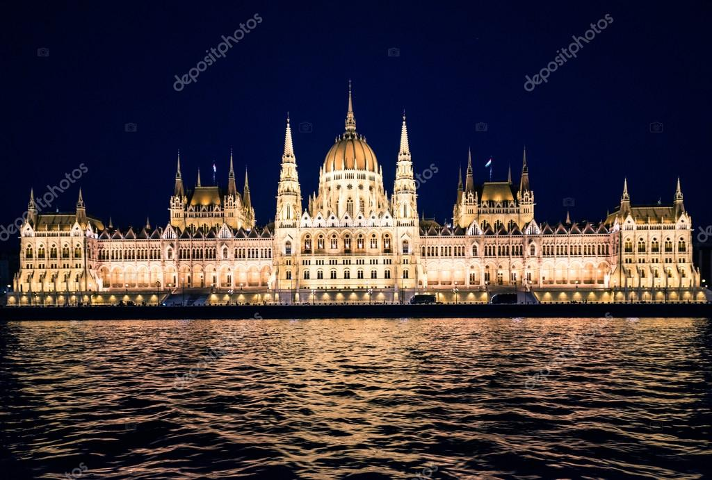 night view on the National Hungarian Parliament