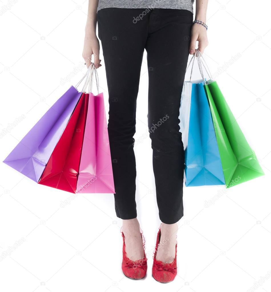 Woman Wearing Leggings Carrying Shopping Bags