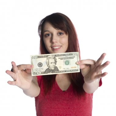 Happy Young Woman Showing 20 US Dollar Bill