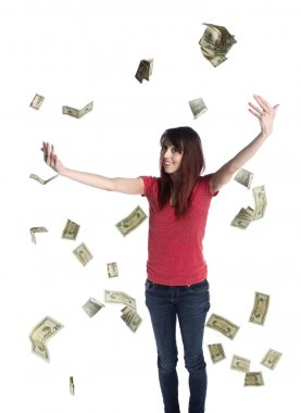 Happy Woman Throwing US Dollar Paper Bills Up