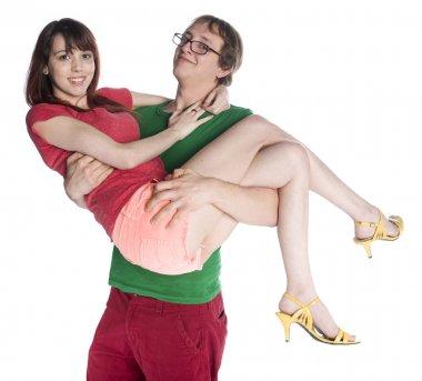 Happy Boyfriend Carrying his Pretty Girlfriend Up