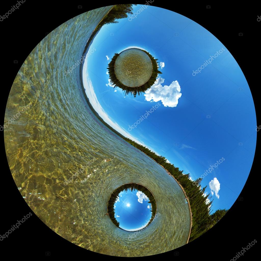 Pristine Wilderness Lake Scenic in Yin Yang Symbol