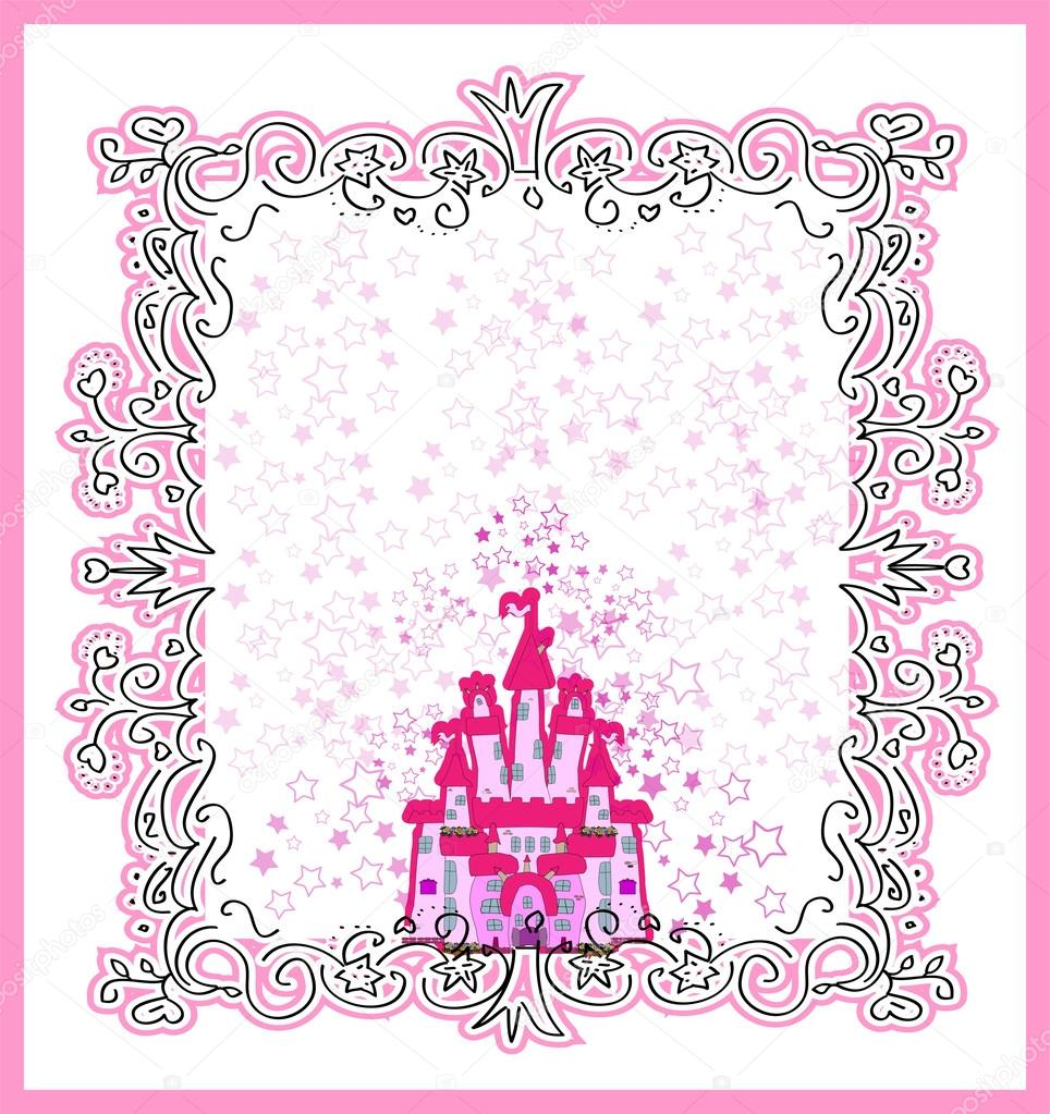 Invitation Card With Magic Fairy Tale Princess Castle Stock Vector
