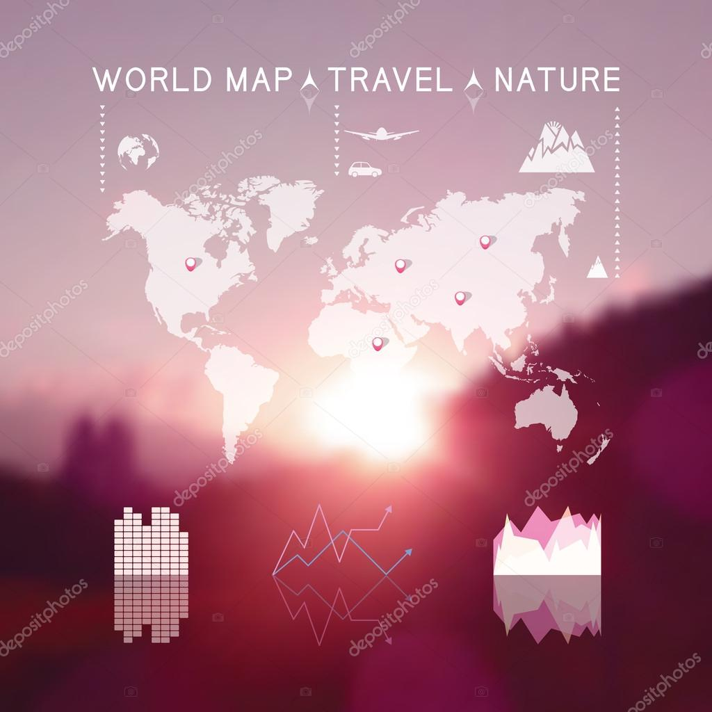 Beautiful blurred natural landscape with travel info graphic ele