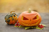 Halloween dýně na Dřevěná prkna