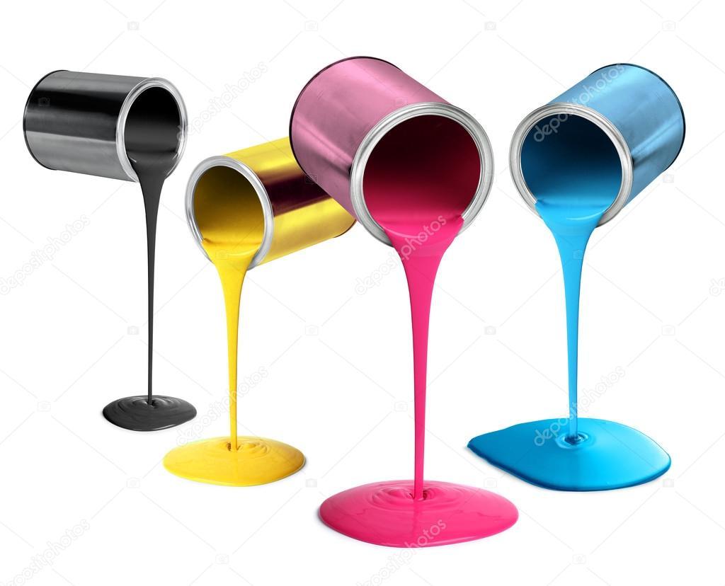 Metal tin cans pouring cmyk color paint stock photo for Colore de pintura