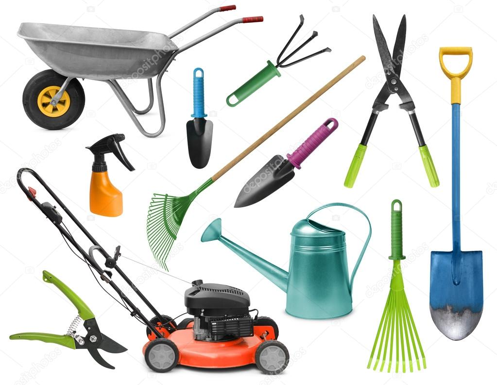 Esenciales herramientas de jardiner a foto de stock for Equipo de jardineria