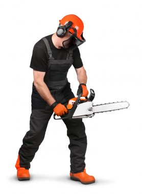 Professional logger in safety gear