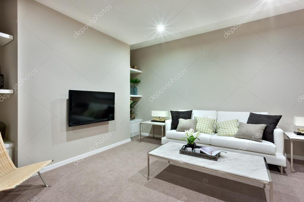 Woonkamer met een witte tafel en banken met kussens voor een luxur ...
