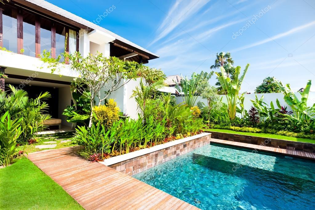 Modern zahrada s baz nem a efektn rostlin stock for Plantas para piscinas