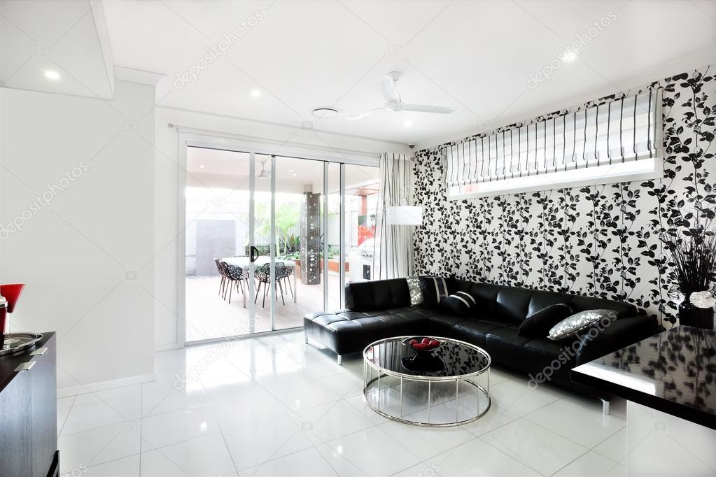 Moderne Wohnzimmer Interieur Des Luxus Haus Mit Rebe Dekoration U2014 Stockfoto