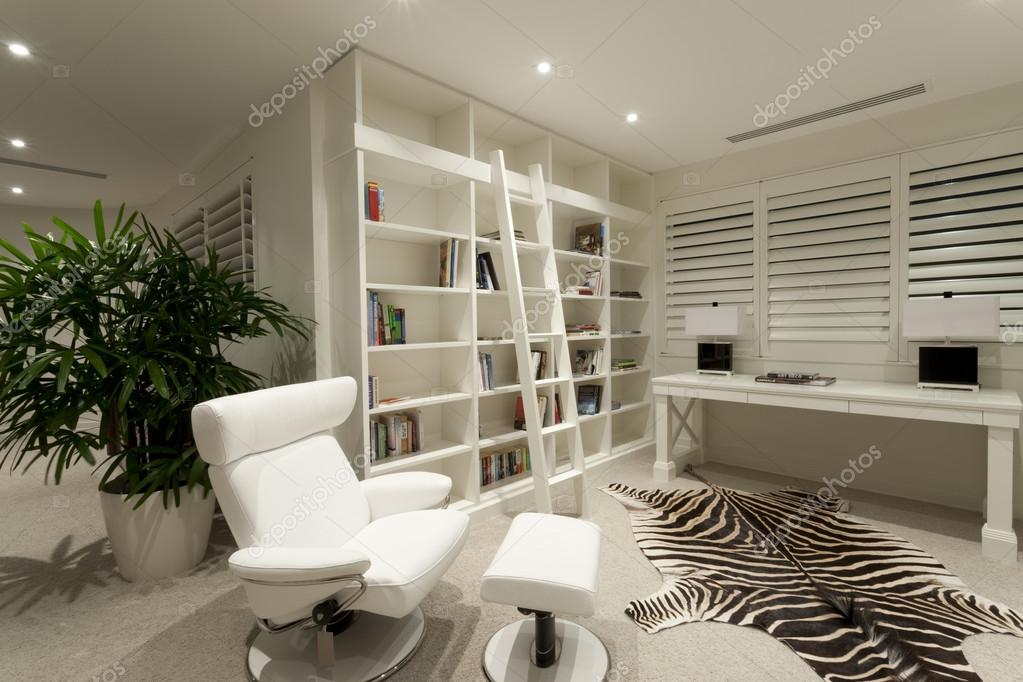 White office with bookshelf and zebra skin