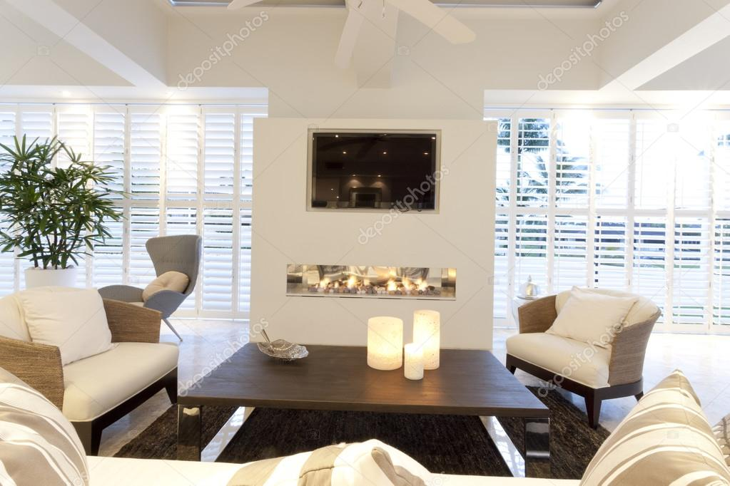 Stylish Living Room With A Fireplace Stock Photo Jrstock1 79268676