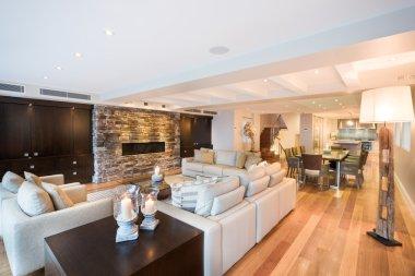 Beautiful living room with wooden floor