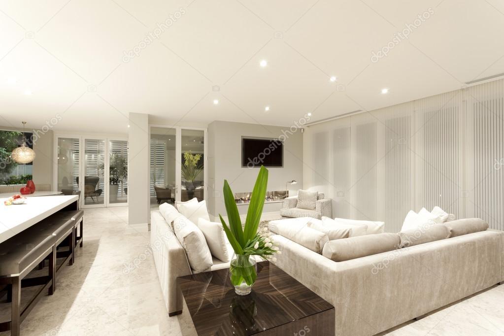 Spacious gray coloured living room