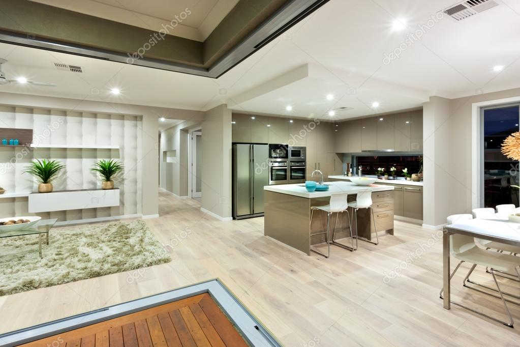 This Modern House Has Few Areas Like Kitchen, Dinning, And The Living Room  At The Same Space Divided. Inside Of The Whole Place Has Been Illuminated  With ...