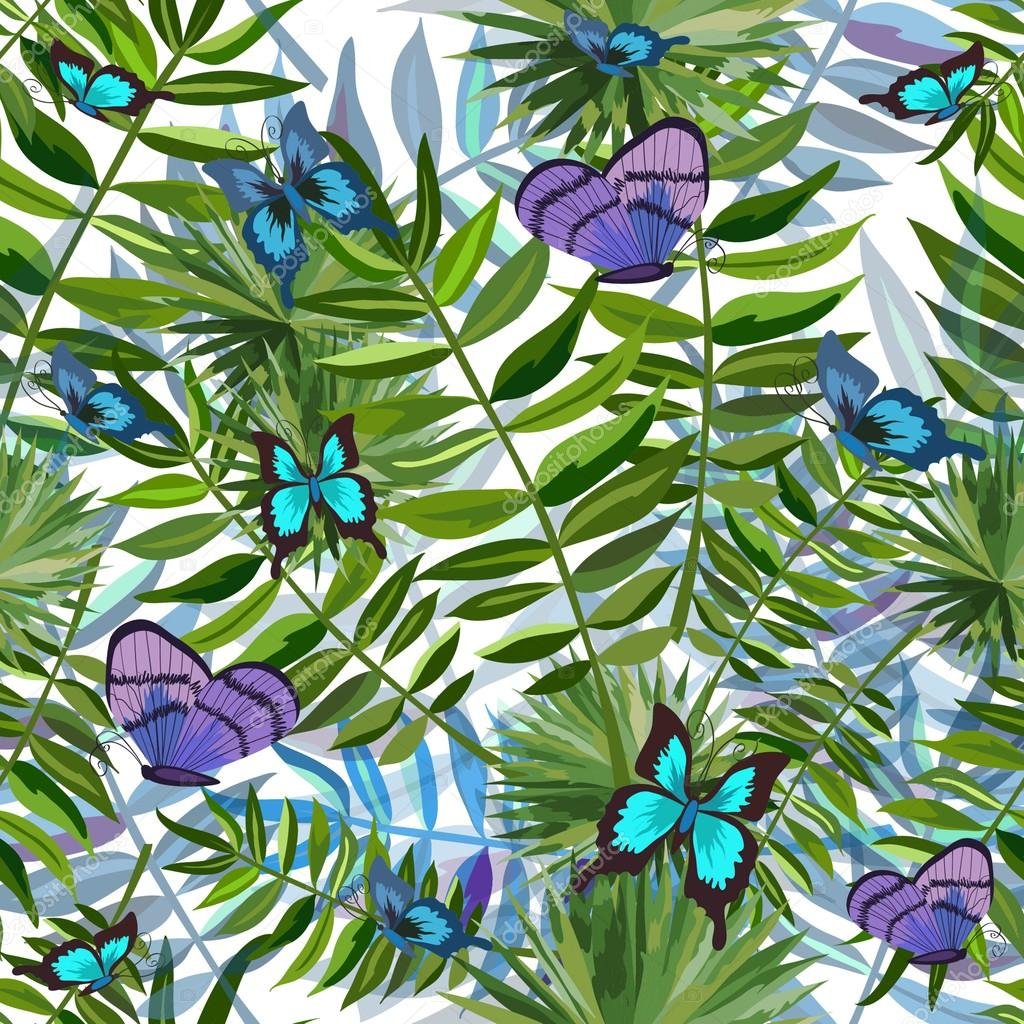 Seamless background with tropical butterflies