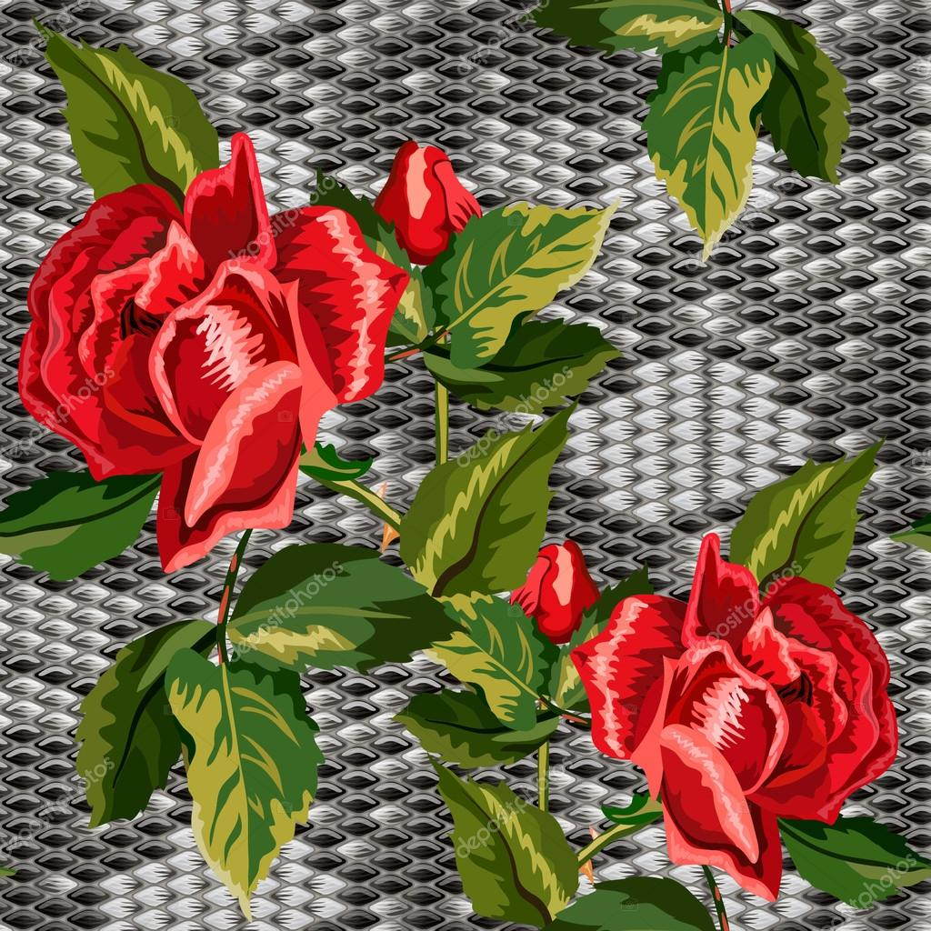 Seamless background with snake skin and flowers of roses