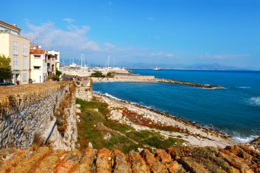 Antibes, France - October 17, 2011:  Old walls of Antibes near the sea, French Riviera