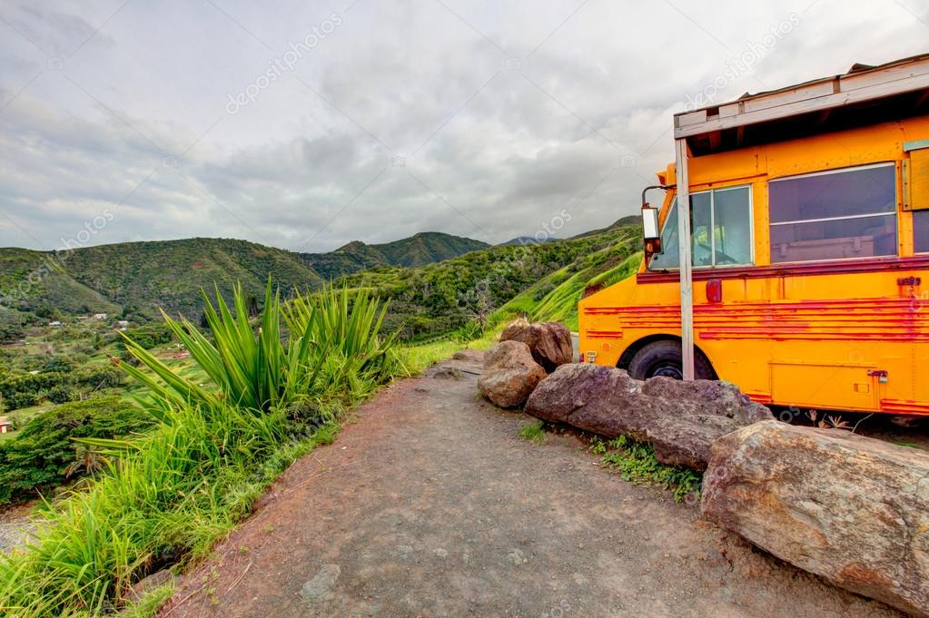 Old yellow school bus. Road to Hana, Maui, Hawaii