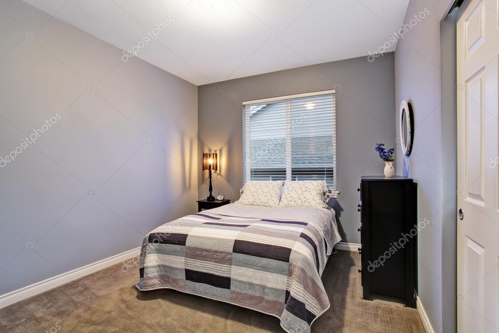Grigio semplice camera da letto con letto grande, grande finestra ...