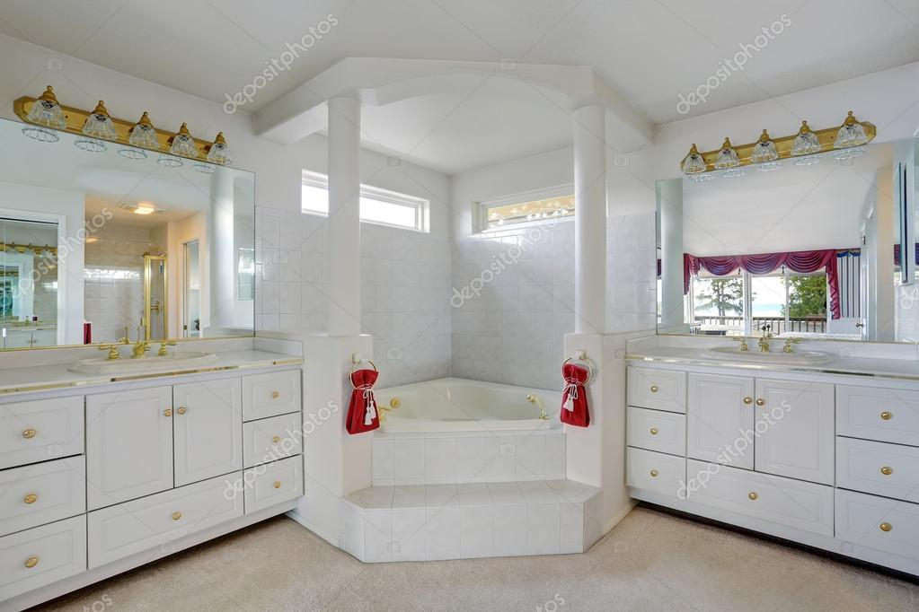 Luxury large white master bathroom cabinets with double sinks and ...