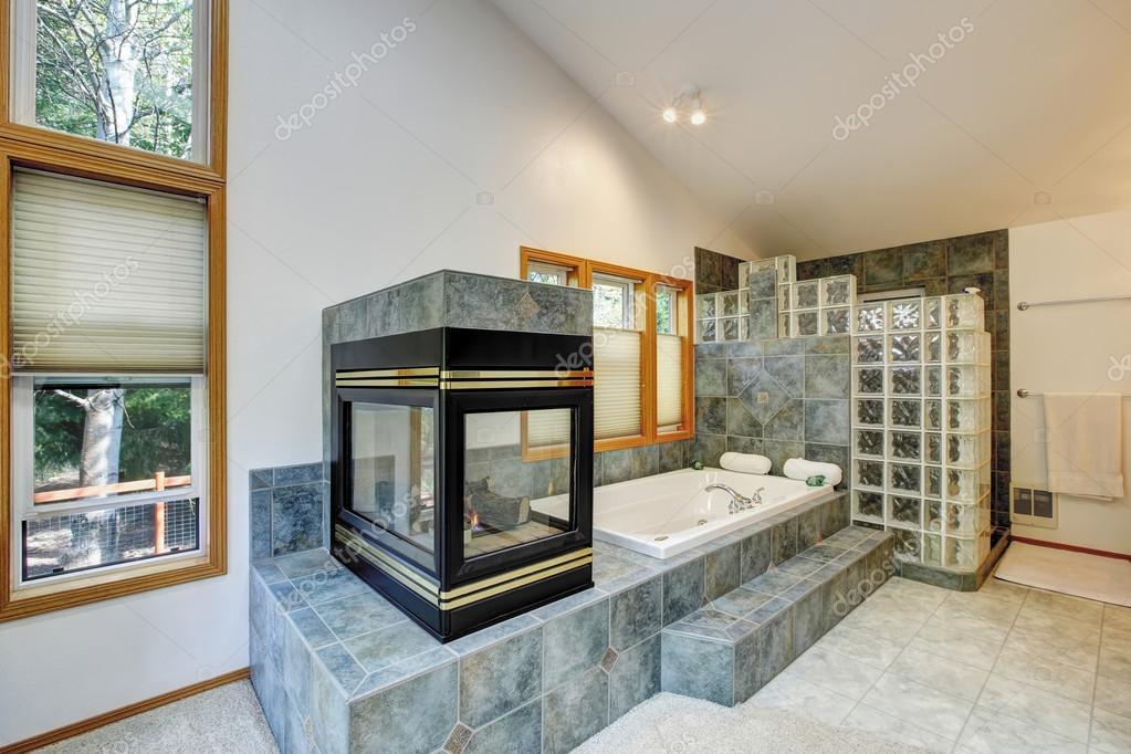 Interno di bagno padronale con camino e pavimenti in piastrelle