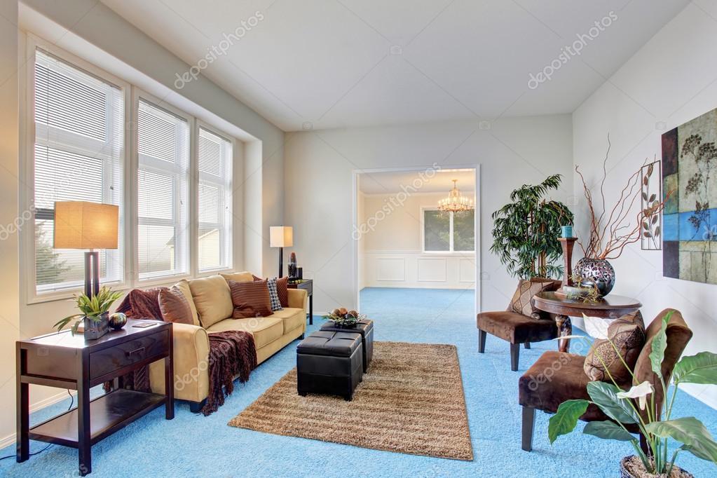 moderno acogedor living comedor con piso de alfombra azul