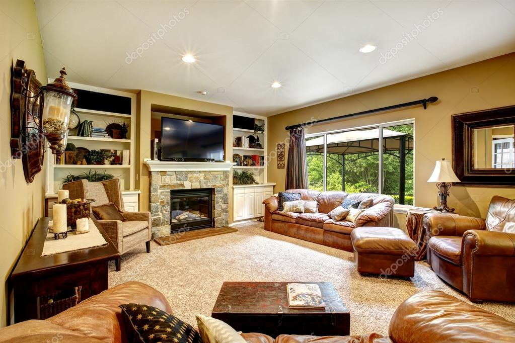 Beautiful Living Room With Fireplace And Tv Stock Photo